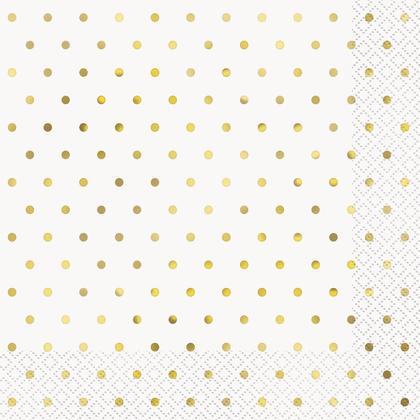Serviettes de table élégantes à pois dorés, 16ct - Estampées