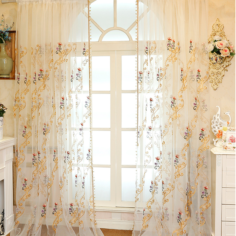 Elegant Fancy Organza Materials with Embroidered Flowers Sheer Curtain for Living Room
