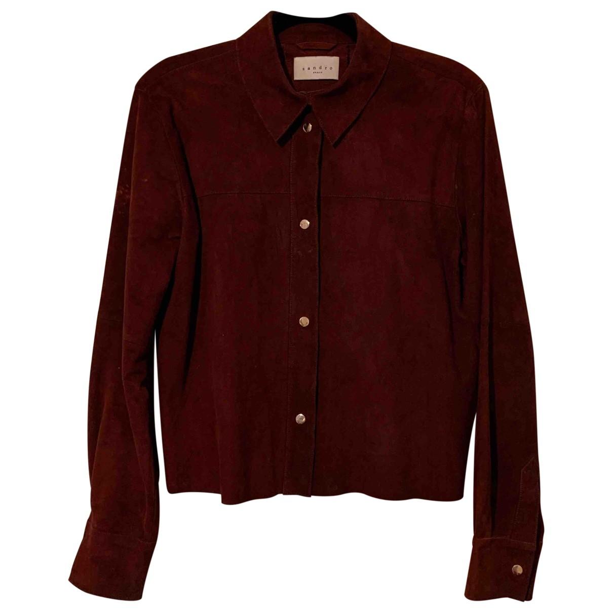 Sandro \N Burgundy Suede jacket for Women 8 UK