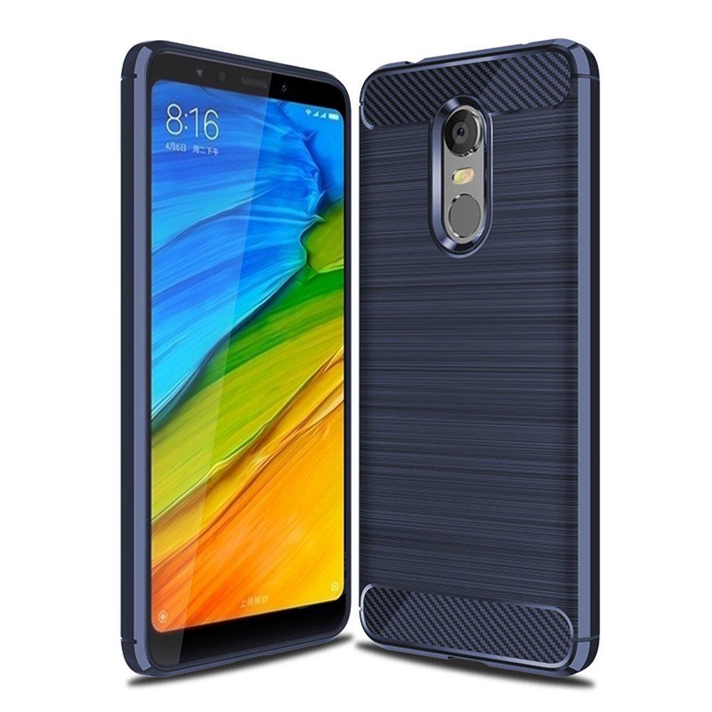 Blue Xiaomi Redmi 5 Plus High Quality Carbon Fiber Brushed Drop Resistance Phone Case