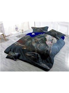 Chic Legendary Dinosaur Wear-resistant Breathable High Quality 60s Cotton 4-Piece 3D Bedding Sets