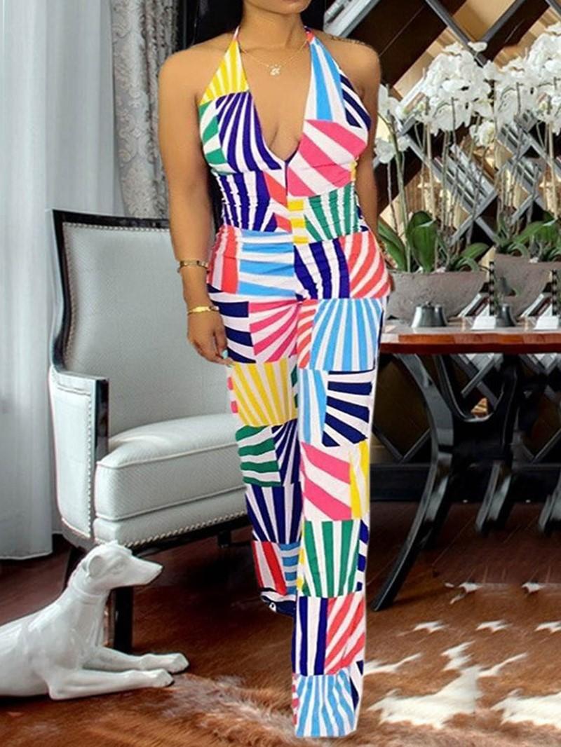 Ericdress Lace-Up Print Sexy High Waist Jumpsuit