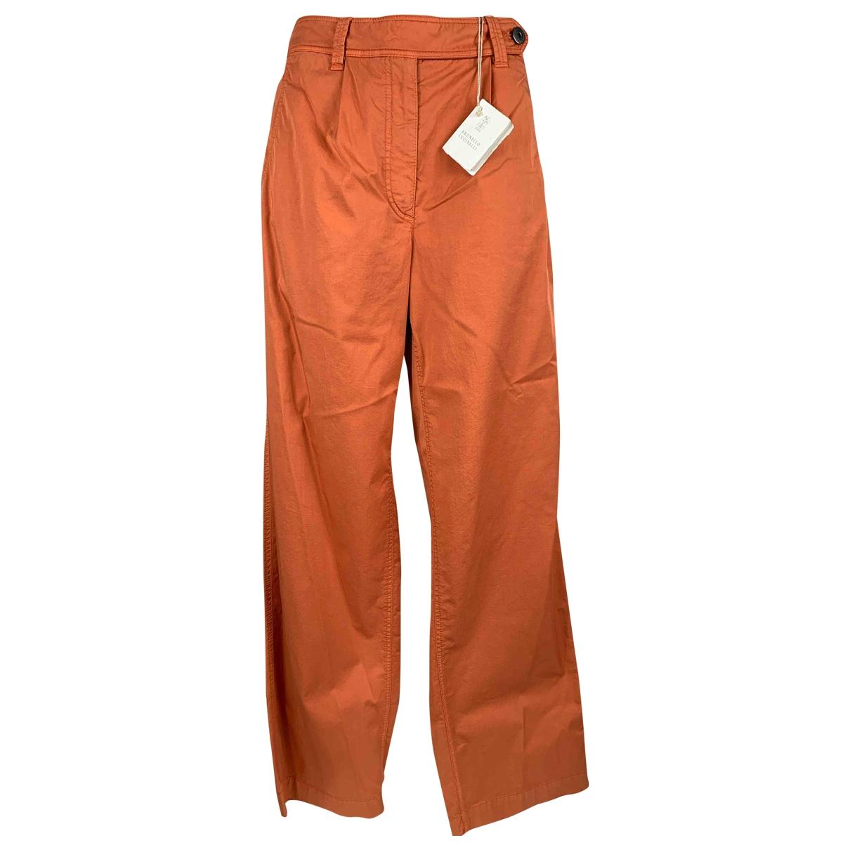 Brunello Cucinelli \N Orange Cotton Trousers for Women 42 IT