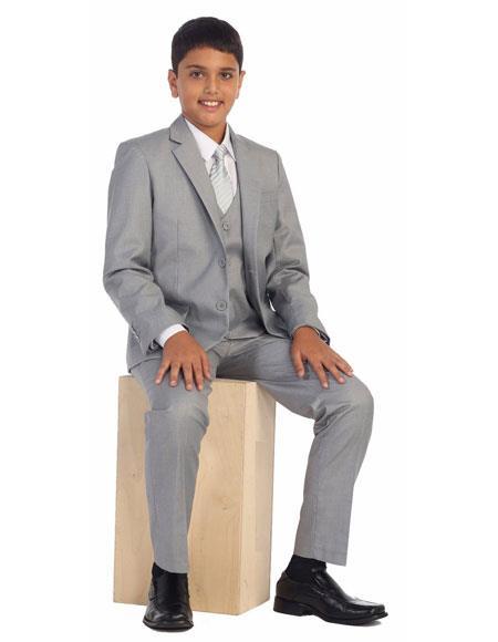 Kids Boys Two Buttons 5 Piece Set Cotton Blend Light Gray Formal Suit