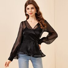 Wrap Tie Side Organza Peplum Top Without Bra
