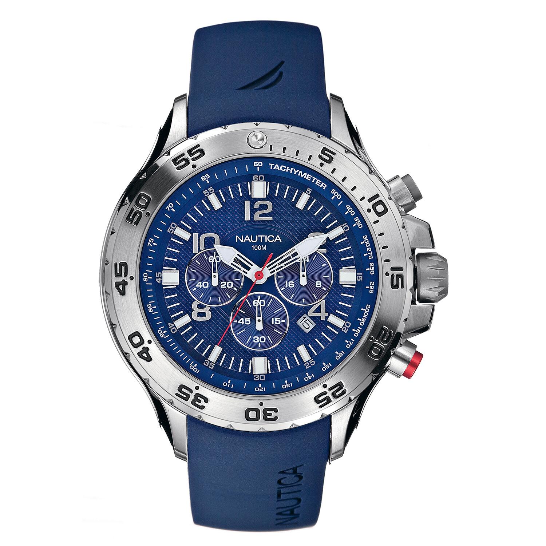 Nautica Watch N14555G NST Chronograph, 24 Hour Time, Tachymeter, Luminous, Blue
