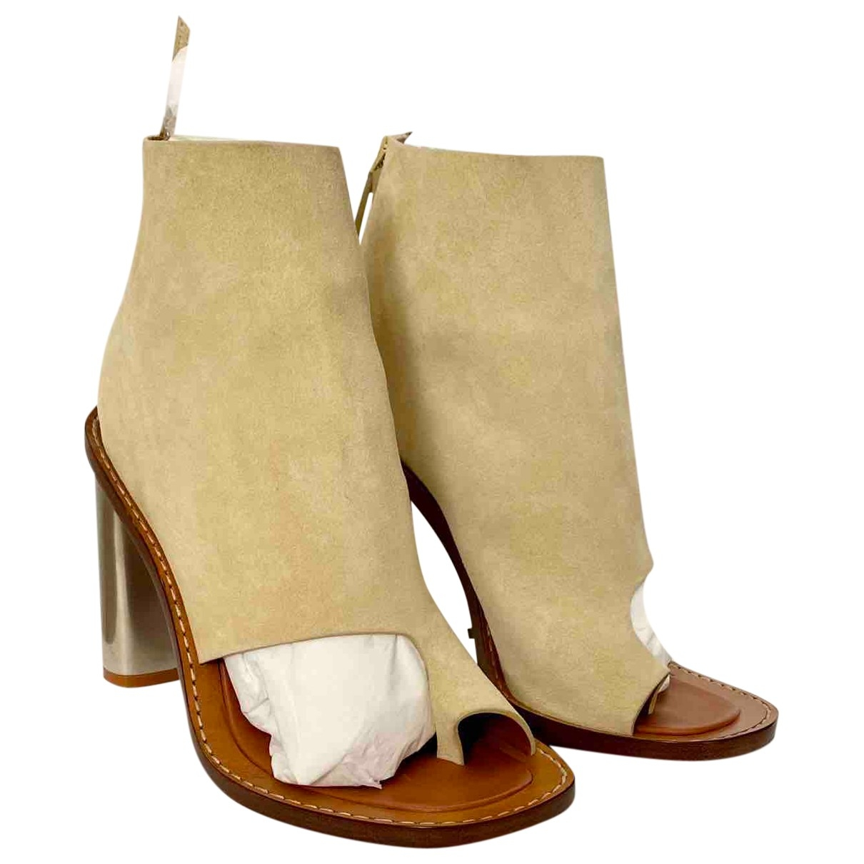 Celine Bam Bam Beige Leather Sandals for Women 38 EU
