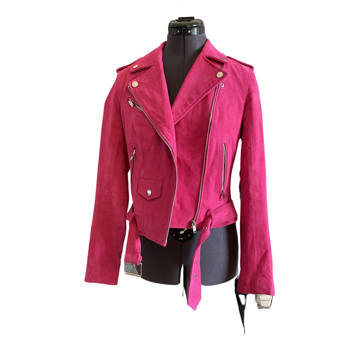 River Island \N Pink Suede Leather jacket for Women 8 UK