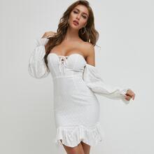 Lace Up Knot Asymmetrical Ruffle Hem Dress