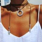 Bohemian Adjustable Wrap Beading Ring Pendant Necklace