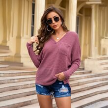 V-neck Batwing Sleeve Pocket Tee