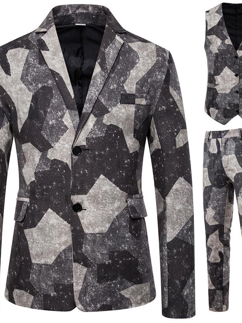 Ericdress Vest Casual Print Dress Men's Suit