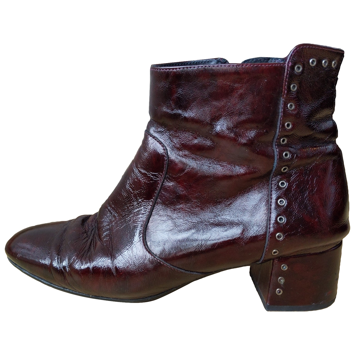 Non Signé / Unsigned \N Red Leather Ankle boots for Women 41 EU