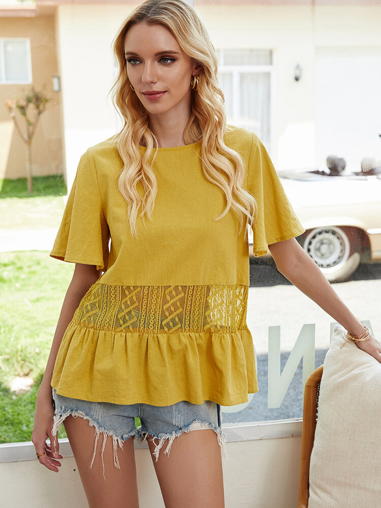 Tulle Patchwork Ruffled Short Sleeves O-neck Casual Blouse For Women