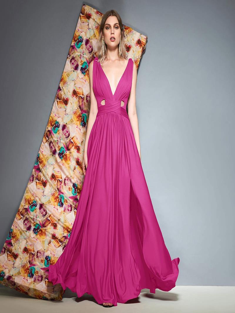Ericdress V-Neck Split-Front Hollow Evening Dress