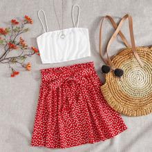 Crop Cami Top & Ditsy Floral Belted Skirt Set