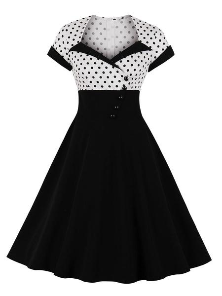Milanoo Vintage Dress Womens Black Polka Dot Short Sleeve 1950s Rockabilly Swing Retro Dresses