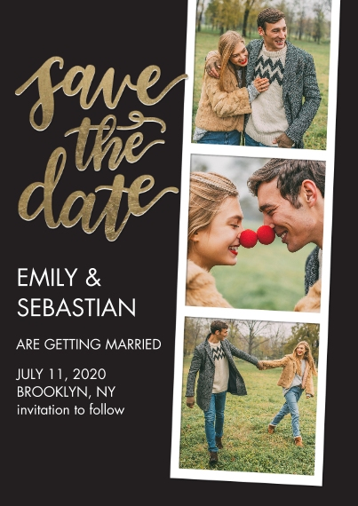 Save the Date 5x7 Cards, Premium Cardstock 120lb with Rounded Corners, Card & Stationery -Save the Date Filmstrip Gold