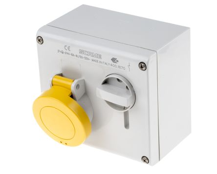 RS PRO Switchable IP44 Industrial Interlock Socket 2P+E, Earthing Position 4h, 16A, 130 V, Yellow
