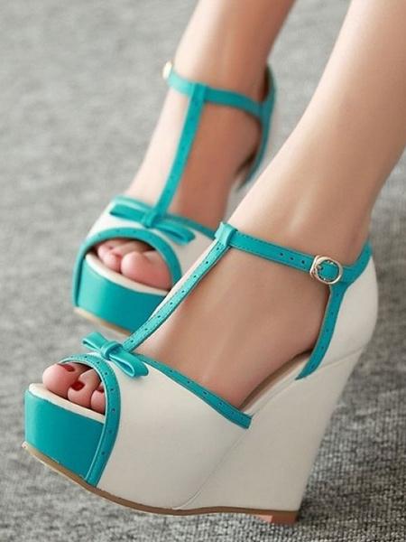Milanoo White Wedge Sandals Women Peep Toe Bow T Type Buckle Detail Platform Heels Sandal Shoes
