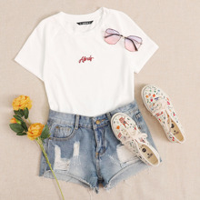 Letter Embroidery Rib-knit Crop Top