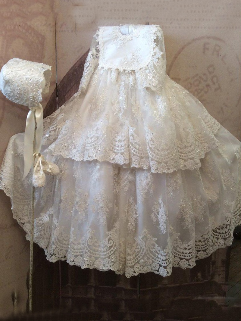 Ericdress Baby Girls Shiny Beading Appliques Lace Christening Gown