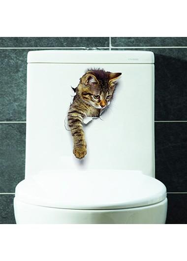 Multi Color 3D Cat Design Sticker - One Size