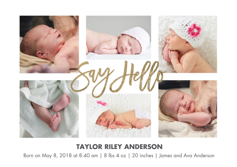 Baby Boy Announcements 5x7 Cards, Premium Cardstock 120lb with Scalloped Corners, Card & Stationery -Baby Hello Script