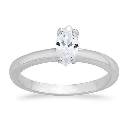 Swarovski Womens White Cubic Zirconia Sterling Silver Solitaire Engagement Ring, 8 , No Color Family