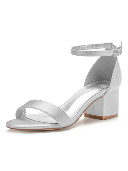 Milanoo Wedding Shoes Satin White Pointed Toe Rhinestones Chunly Heel Mid Ankle Strap Bridal Shoes