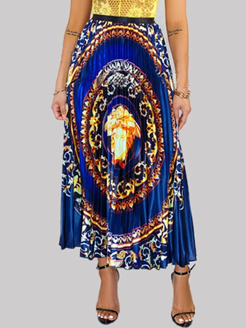 Ericdress Print Pleated Floral Maxi Skirt