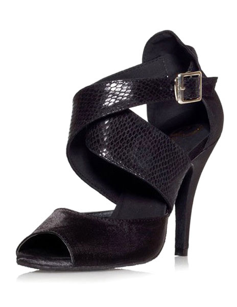 Milanoo Black Buckle Peep Toe Silk and Satin Womens Latin Shoes