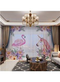 3D Cartoon Flamingo and Unicorn Printed Pink Color Romantic 2 Panels Custom Sheer
