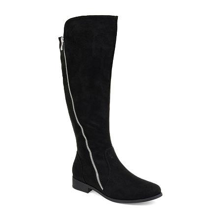Journee Collection Womens Kerin Xwc Stacked Heel Zip Riding Boots, 8 1/2 Medium, Black
