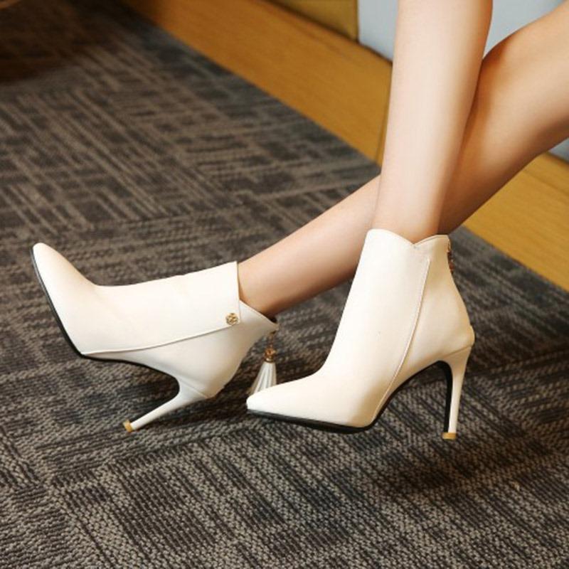 Ericdress Tassel Pointed Toe Plain High Heel Boots