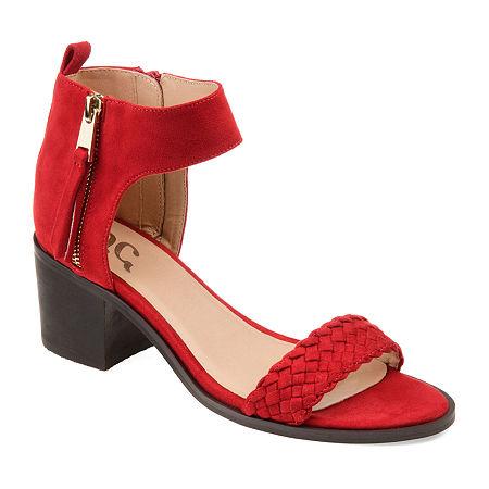 Journee Collection Womens Hunter Heeled Sandals, 6 Medium, Red