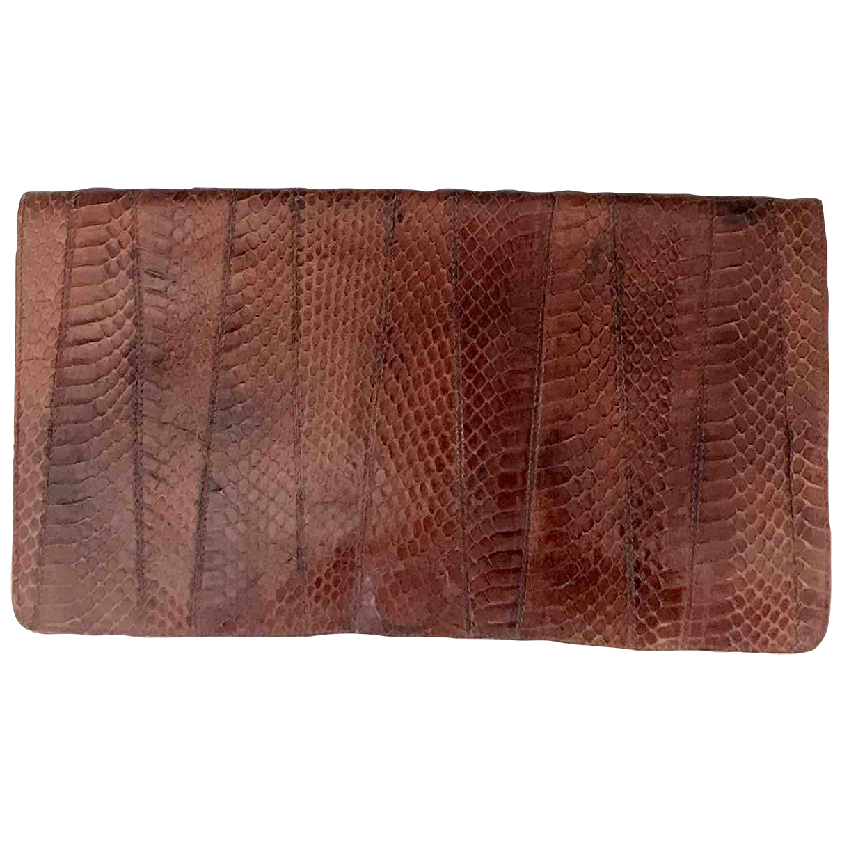 Non Signé / Unsigned Hippie Chic Brown Python Clutch bag for Women \N