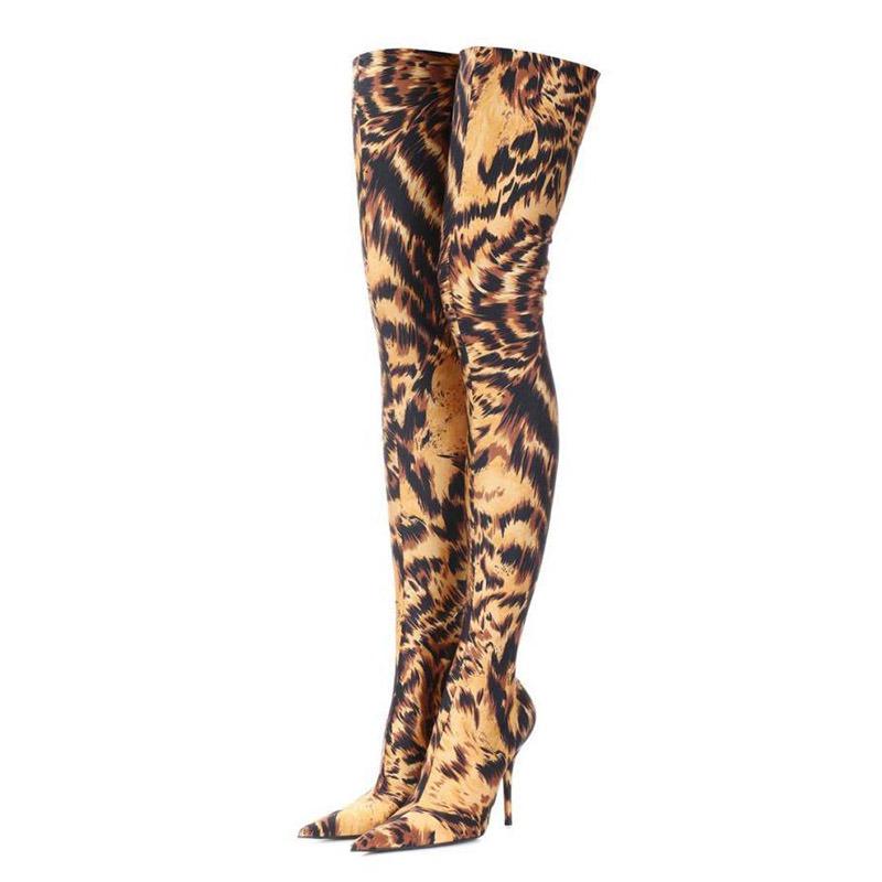 Ericdress Pointed Toe Stiletto Heel Slip-On Women's Over-The-Knee Boots