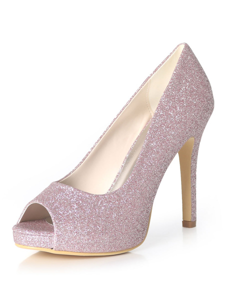Milanoo Silver Wedding Shoes Glitter Peep Toe High Heel Prom Shoes Women Evening Shoes