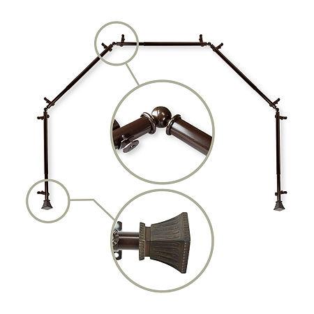 Rod Desyne Trumpet 5-Sided Bay Window Rod, One Size , Brown