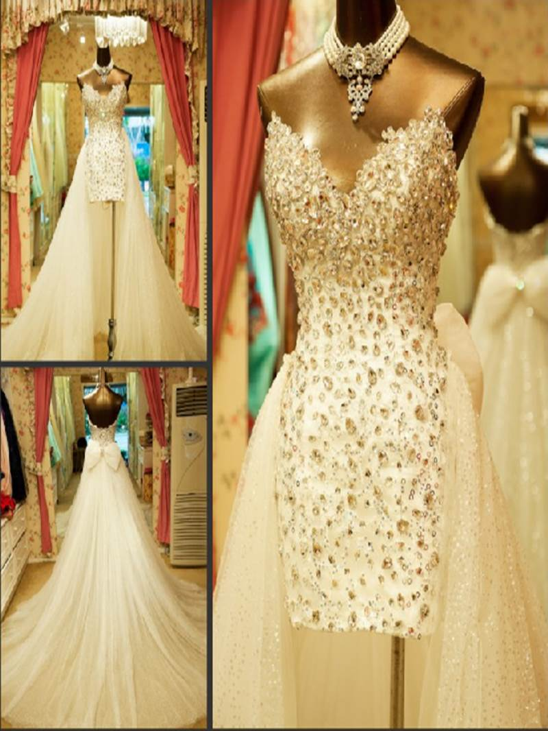 Ericdress Sweetheart Sheath Beaded Wedding Dress with Train