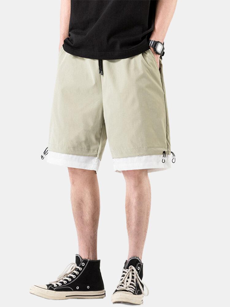 Mens Patchwork Breathable Elastic Drawstring Casual Thin Shorts