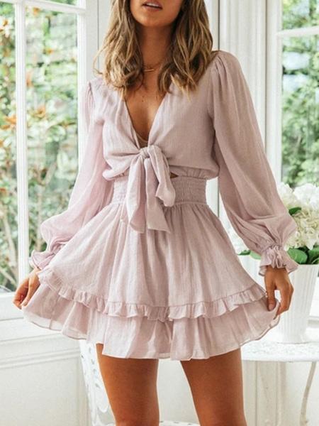Milanoo Summer Dresses White V Neck Knotted Sundress