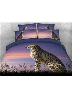 3D Autumn Leopard Duvet Cover Set Soft Wrinkle-resistant 4-Piece Animal Bedding Sets