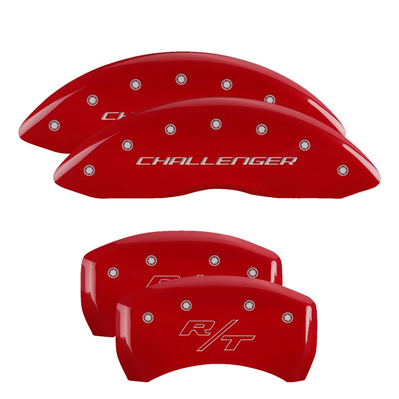 MGP Caliper Covers 12181SCBRRD Set of 4: Red finish, Silver Challenger (Block) / R/T Dodge 2011-2019