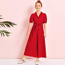 Girls Notched Collar Buttoned Front Wide Leg Belted Jumpsuit
