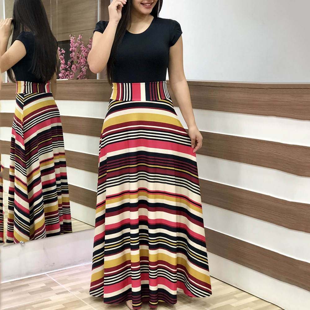 Stripe A-Line Silhouette Floor-Length Patchwork Short Sleeve Dress