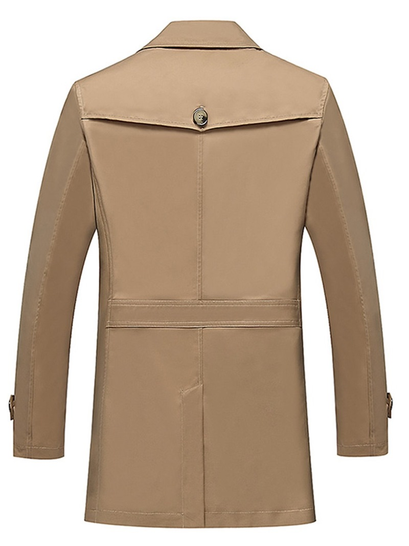 Ericdress Plain Lapel Single Breasted Mens Casual Trench Coats