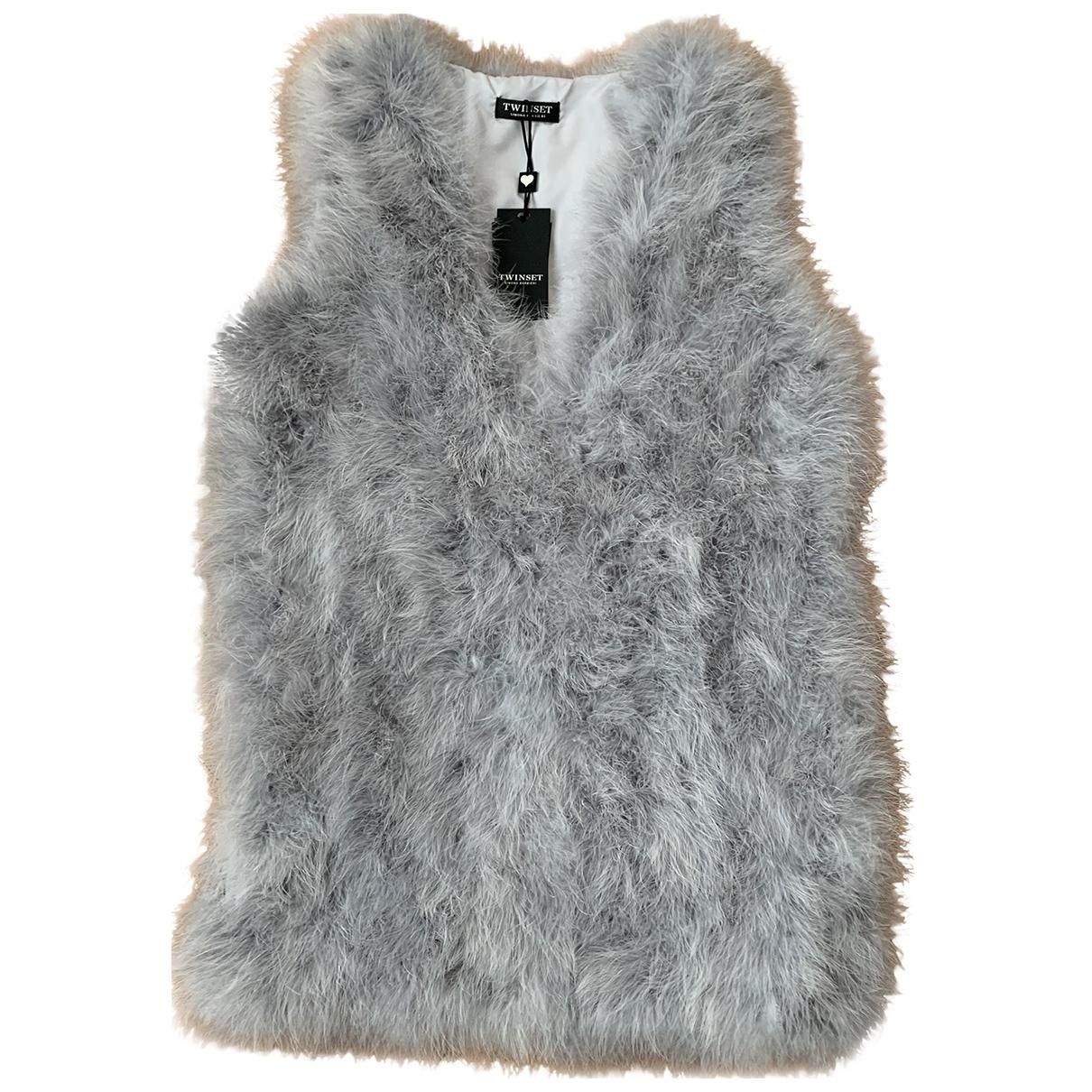Twin Set \N Grey Ostrich jacket for Women 42 IT