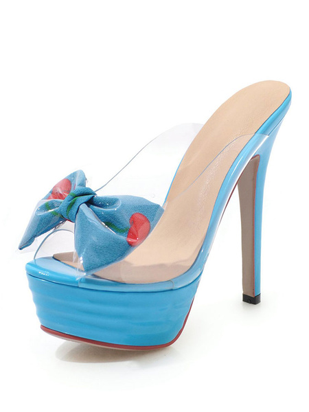 Milanoo High Heel Sandals White Platform Open Toe Bow Backless Sandal Slippers
